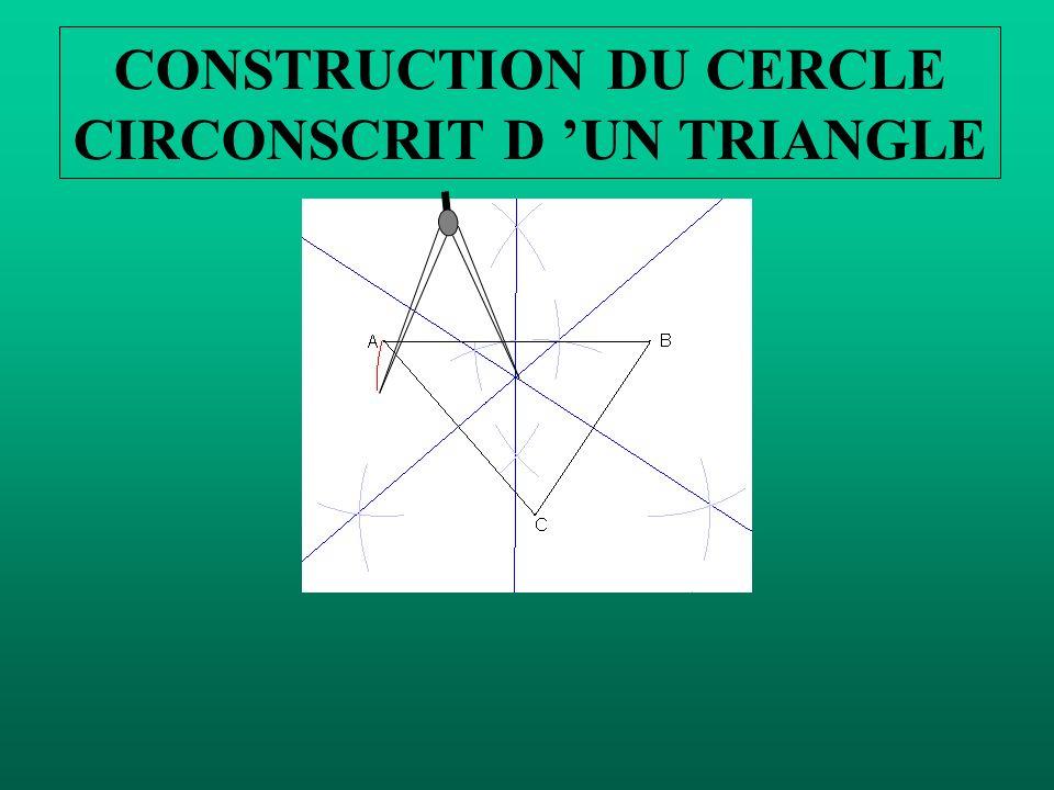 O Il reste à tracer le cercle circonscrit au triangle ABC. Mettre la pointe du compas sur O et le crayon sur A.