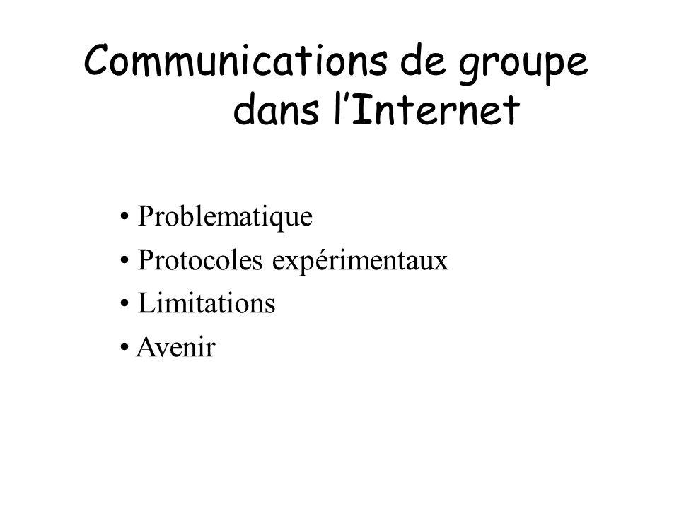 Conclusions Problèmes avec modèle de Deering –Lexistance dun groupe nest pas définie –Les émetteurs ne sont pas membre Choix et modification dynamique du centre de larbre Le multicast doit être présent en standard dans IPv6, mais quel(s) protocole(s).