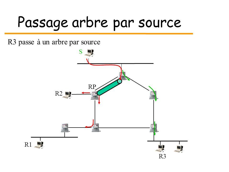 Passage arbre par source S R3 R1 RP R2 R3 passe à un arbre par source