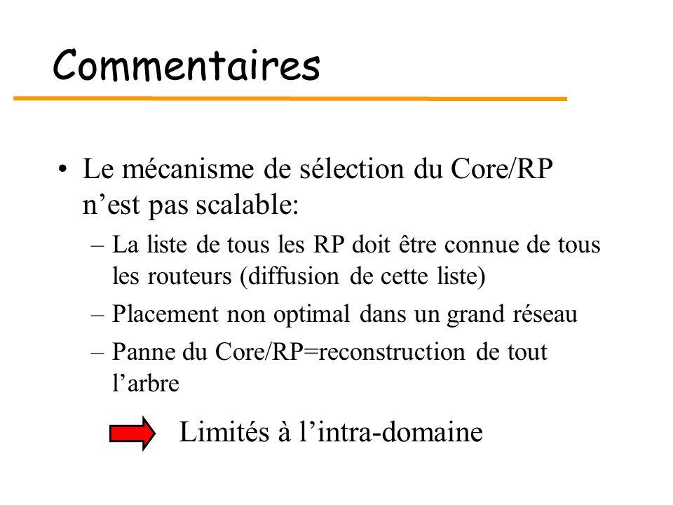 Commentaires Le mécanisme de sélection du Core/RP nest pas scalable: –La liste de tous les RP doit être connue de tous les routeurs (diffusion de cett