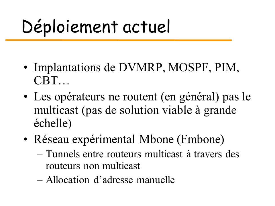 Déploiement actuel Implantations de DVMRP, MOSPF, PIM, CBT… Les opérateurs ne routent (en général) pas le multicast (pas de solution viable à grande é
