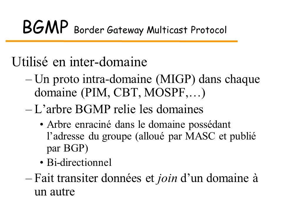 BGMP Border Gateway Multicast Protocol Utilisé en inter-domaine –Un proto intra-domaine (MIGP) dans chaque domaine (PIM, CBT, MOSPF,…) –Larbre BGMP re