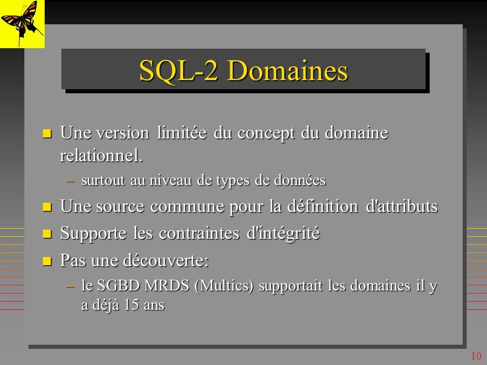 9 n On peut créer une table dans une autre base que celle courante (ouverte) –SQL Server, SQL (seulement) de MsAccess, SQL-2 CREATE TABLE AUTRE-BASE.S