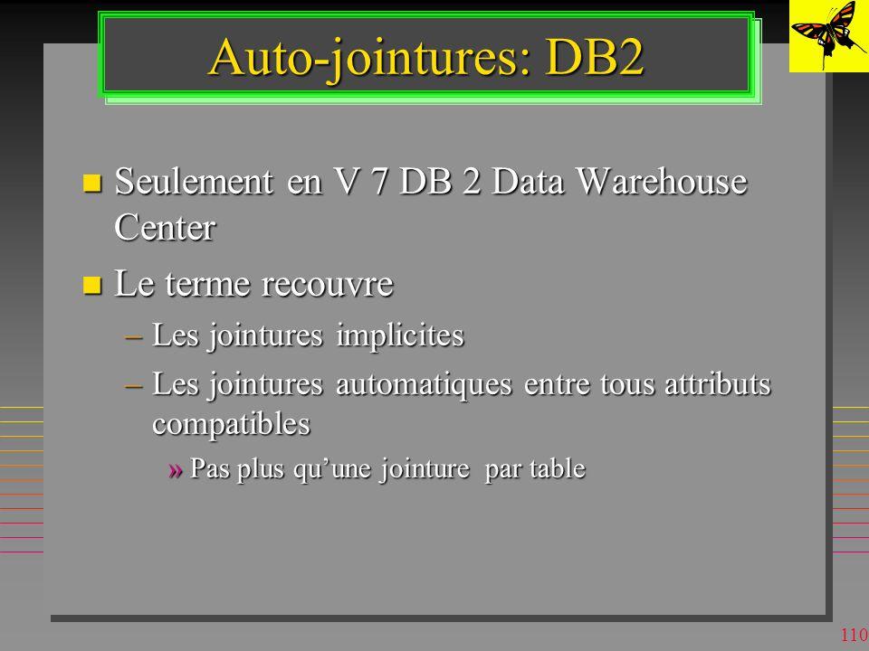 109 Jointure Automatique Une jointure implicite entre deux attributs de deux tables différentes sélectionnées pour une requête : –sans lien sémantique