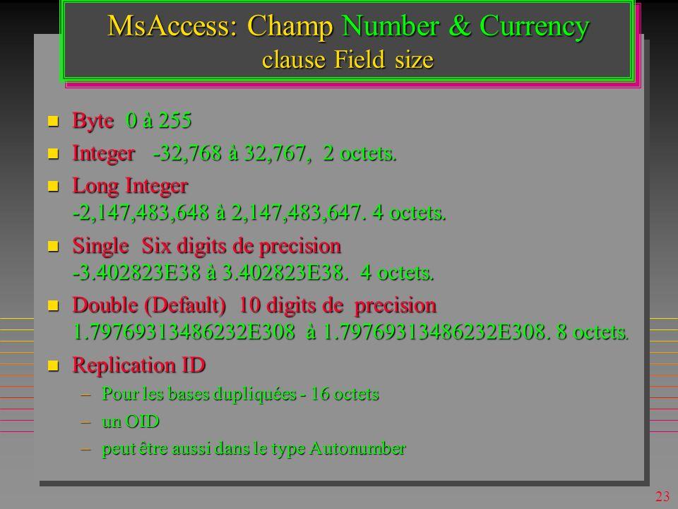 22 MsAccess: Types de Données n Hyperlink –comme son l indique »nom symbolique < 2048 octets »URL ou UNC< 2048 octets »sous-adresse (dans le fichier o