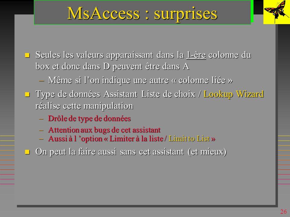 25 MsAccess : domaines n On peut les simuler (en QBE) par : –une table D source de valeurs »table de la base ou une liste de valeurs –une zone de text