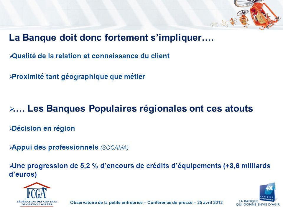 Observatoire de la petite entreprise – Conférence de presse – 25 avril 2012 La Banque doit donc fortement simpliquer…. Qualité de la relation et conna
