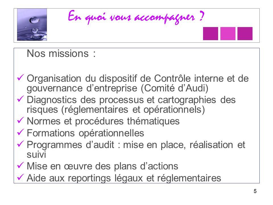 En quoi vous accompagner ? Nos missions : Organisation du dispositif de Contrôle interne et de gouvernance dentreprise (Comité dAudi) Diagnostics des