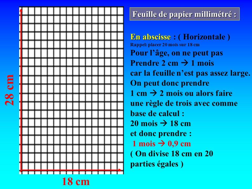 28 cm 18 cm Feuille de papier millimétré : En abscisse En abscisse : ( Horizontale ) Rappel: placer 20 mois sur 18 cm Pour lâge, on ne peut pas Prendr