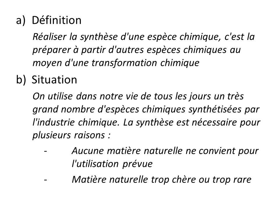 a)Définition Réaliser la synthèse d'une espèce chimique, c'est la préparer à partir d'autres espèces chimiques au moyen d'une transformation chimique