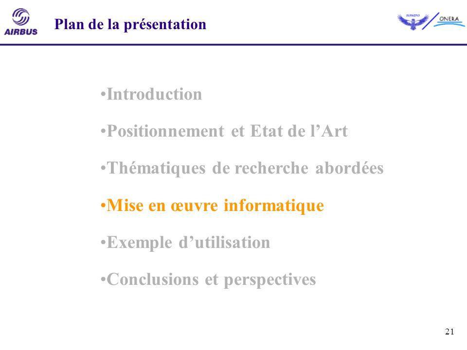 21 Introduction Positionnement et Etat de lArt Thématiques de recherche abordées Mise en œuvre informatique Exemple dutilisation Conclusions et perspe