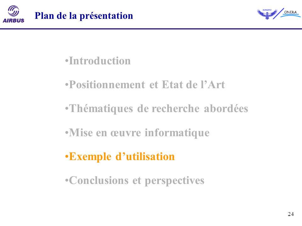 24 Introduction Positionnement et Etat de lArt Thématiques de recherche abordées Mise en œuvre informatique Exemple dutilisation Conclusions et perspe