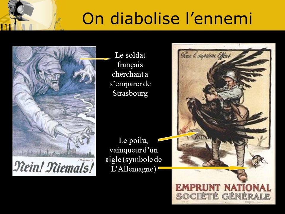 On diabolise lennemi Le soldat français cherchant a semparer de Strasbourg Le poilu, vainqueur dun aigle (symbole de LAllemagne)