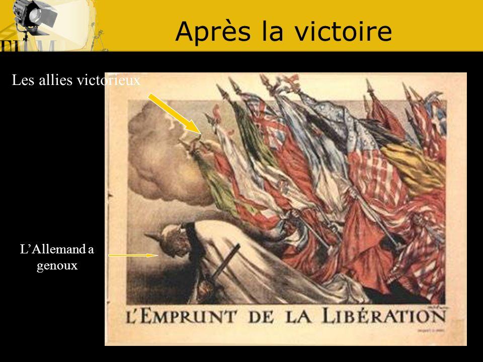 Après la victoire Les allies victorieux LAllemand a genoux