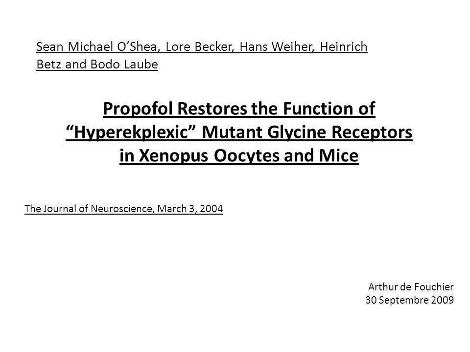 Propofol Restores the Function of Hyperekplexic Mutant Glycine Receptors in Xenopus Oocytes and Mice Sean Michael OShea, Lore Becker, Hans Weiher, Hei