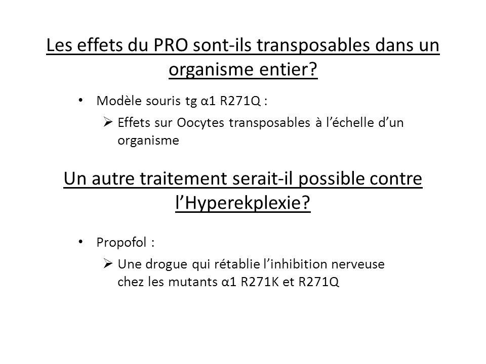 Les effets du PRO sont-ils transposables dans un organisme entier? Modèle souris tg α1 R271Q : Effets sur Oocytes transposables à léchelle dun organis