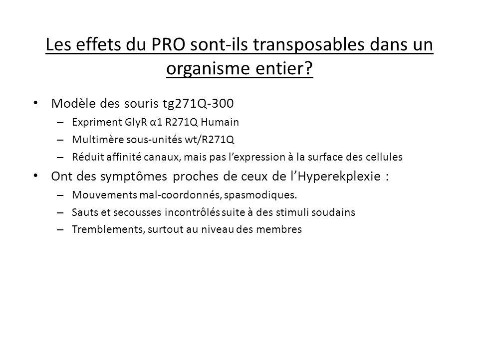 Les effets du PRO sont-ils transposables dans un organisme entier? Modèle des souris tg271Q-300 – Expriment GlyR α1 R271Q Humain – Multimère sous-unit