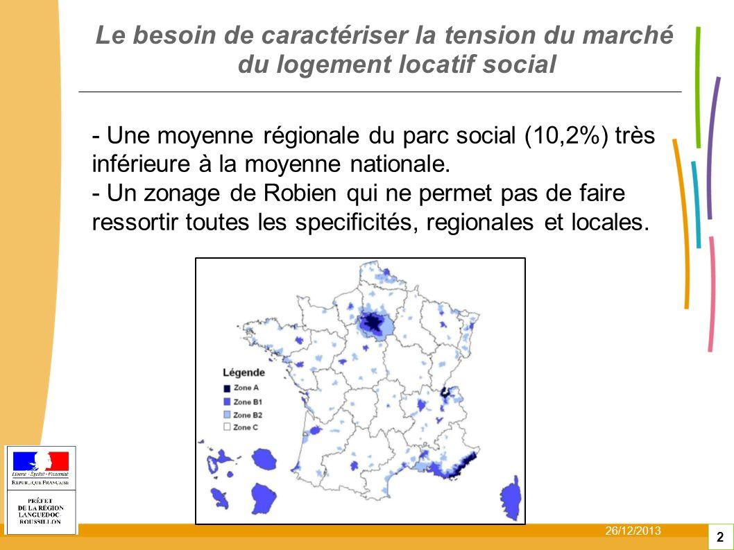26/12/2013 2 Le besoin de caractériser la tension du marché du logement locatif social - Une moyenne régionale du parc social (10,2%) très inférieure à la moyenne nationale.