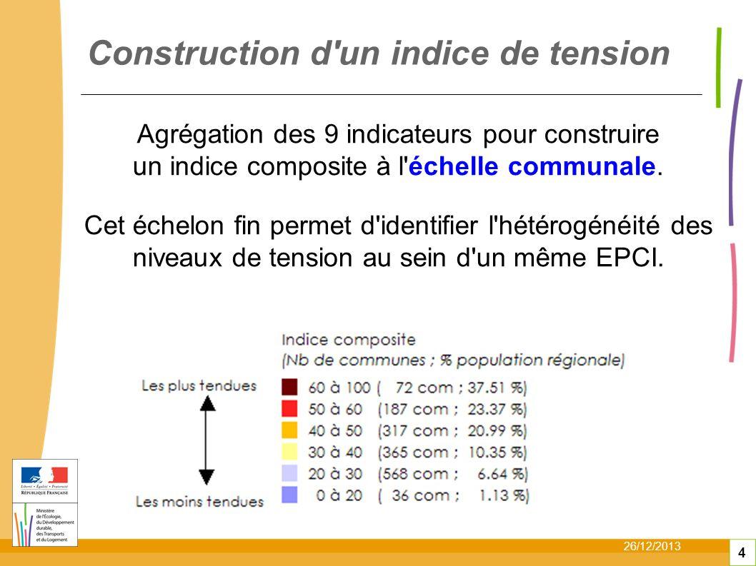 26/12/2013 4 Agrégation des 9 indicateurs pour construire un indice composite à l échelle communale.
