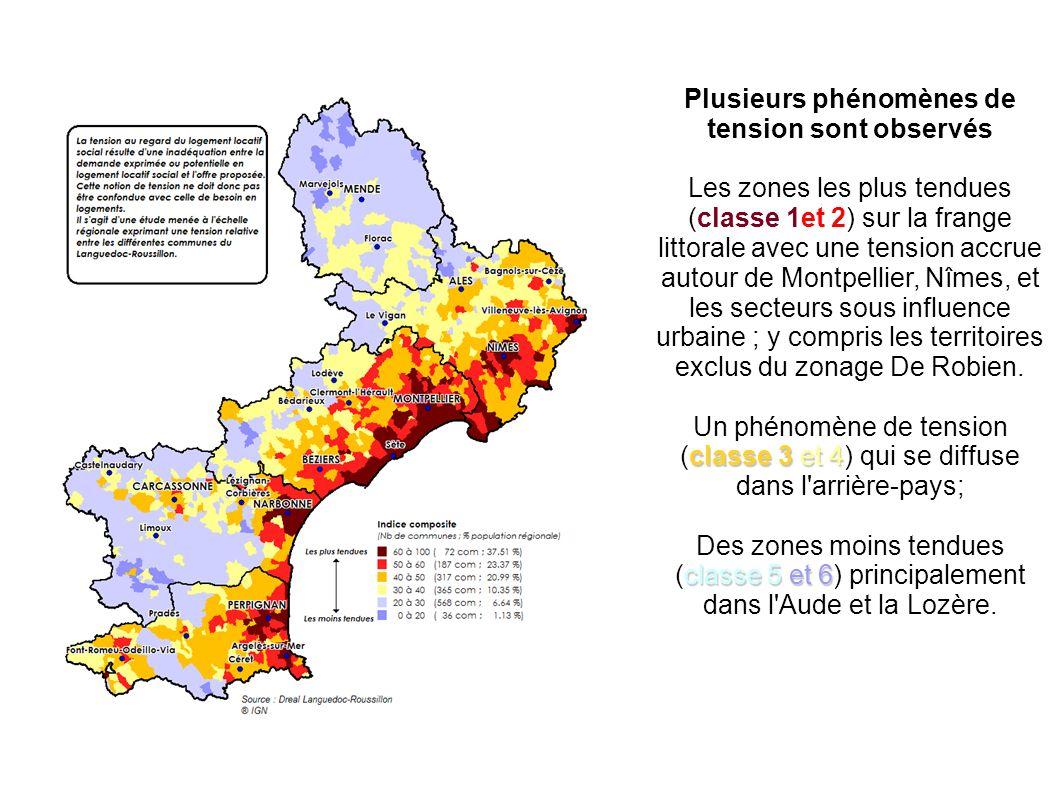 Plusieurs phénomènes de tension sont observés Les zones les plus tendues (classe 1et 2) sur la frange littorale avec une tension accrue autour de Montpellier, Nîmes, et les secteurs sous influence urbaine ; y compris les territoires exclus du zonage De Robien.