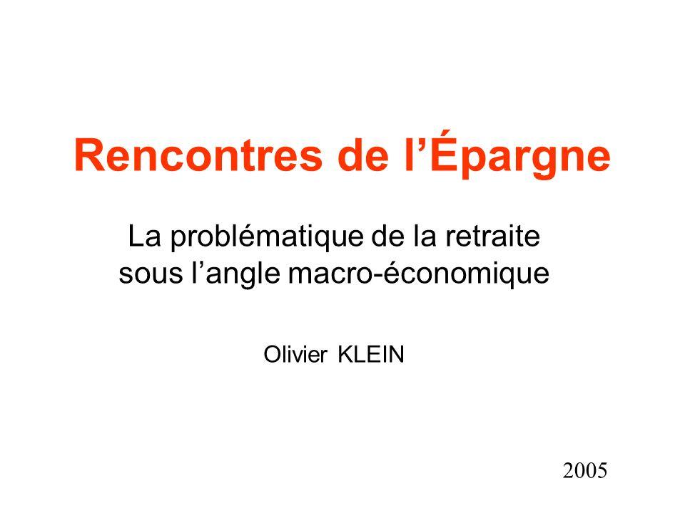 Rencontres de lÉpargne La problématique de la retraite sous langle macro-économique Olivier KLEIN 2005