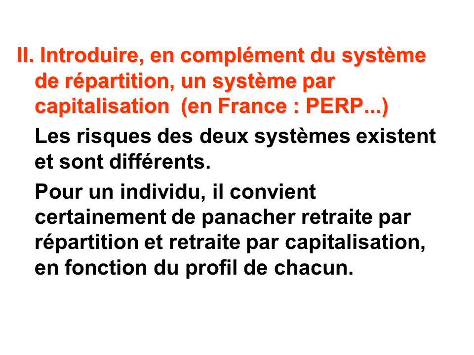 II. Introduire, en complément du système de répartition, un système par capitalisation (en France : PERP...) Les risques des deux systèmes existent et