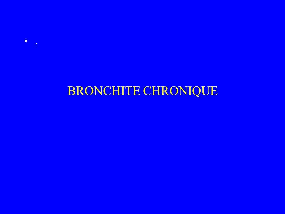 Définition de la bronchite chronique affection caractérisée par une toux permanente ou intermittente liée à une augmentation de la sécrétion bronchique indépendante de toute maladie broncho pulmonaire.