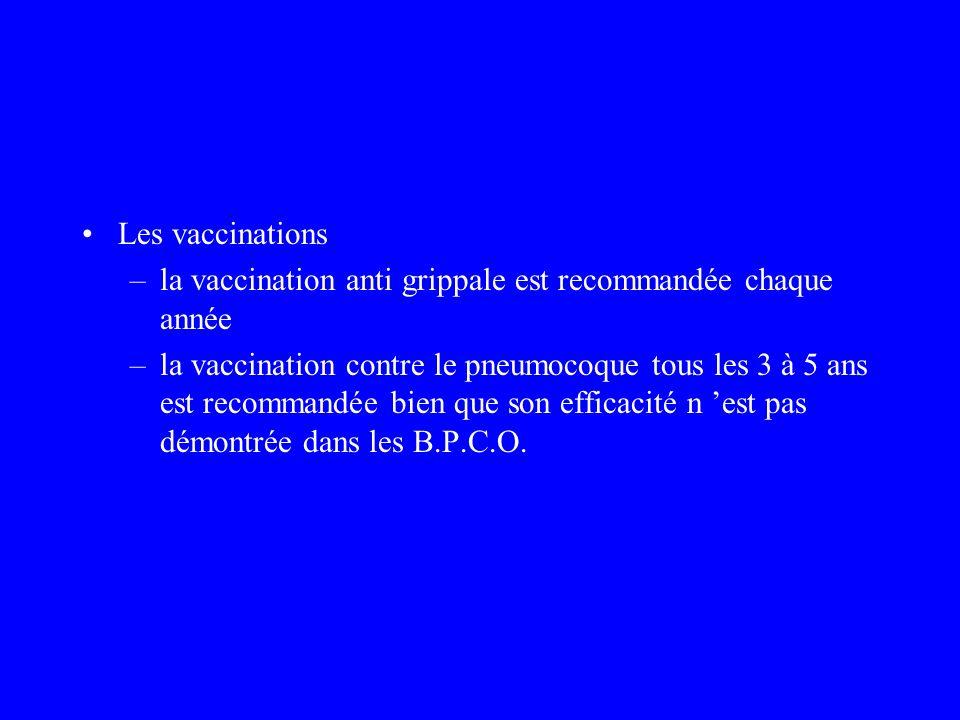 Les vaccinations –la vaccination anti grippale est recommandée chaque année –la vaccination contre le pneumocoque tous les 3 à 5 ans est recommandée b