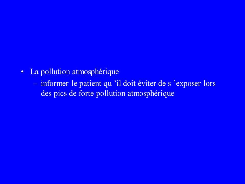 La pollution atmosphérique –informer le patient qu il doit éviter de s exposer lors des pics de forte pollution atmosphérique