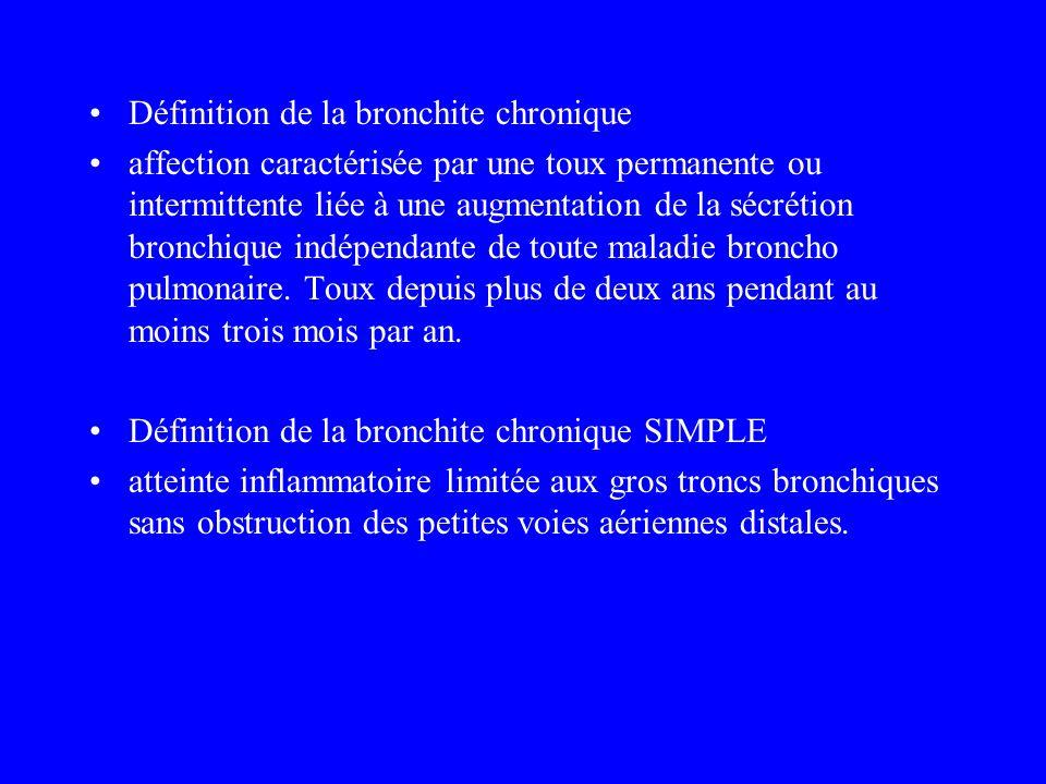 Définition de la bronchite chronique affection caractérisée par une toux permanente ou intermittente liée à une augmentation de la sécrétion bronchiqu