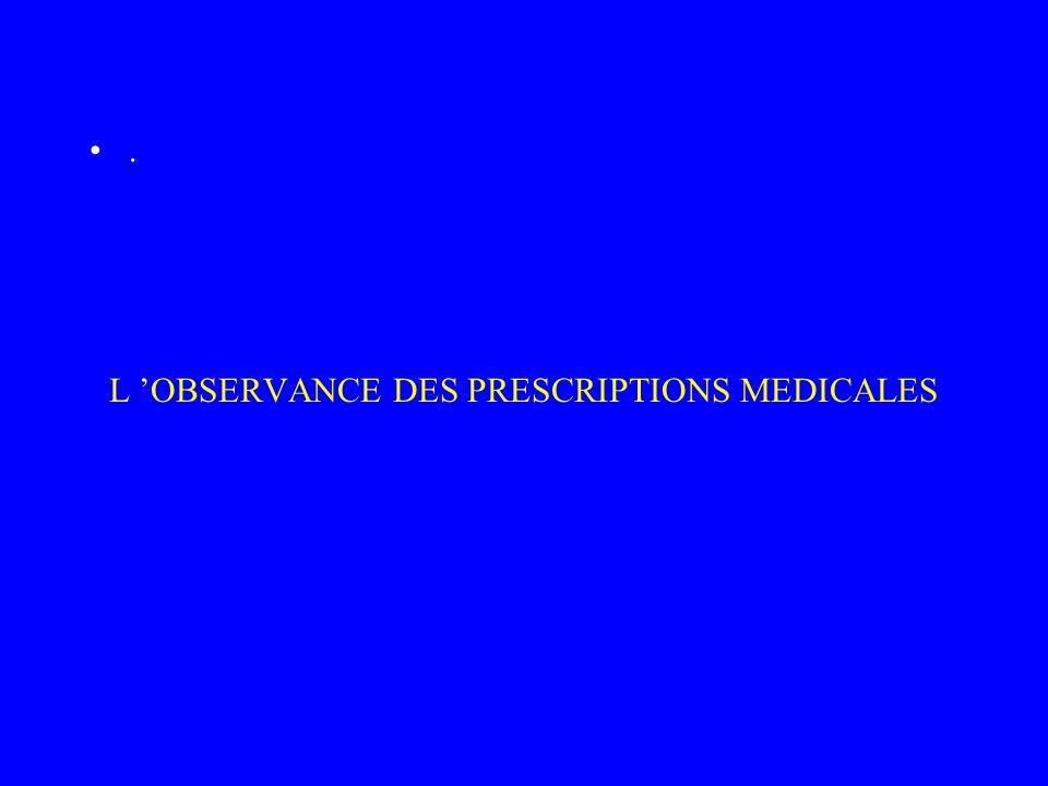 L OBSERVANCE DES PRESCRIPTIONS MEDICALES.