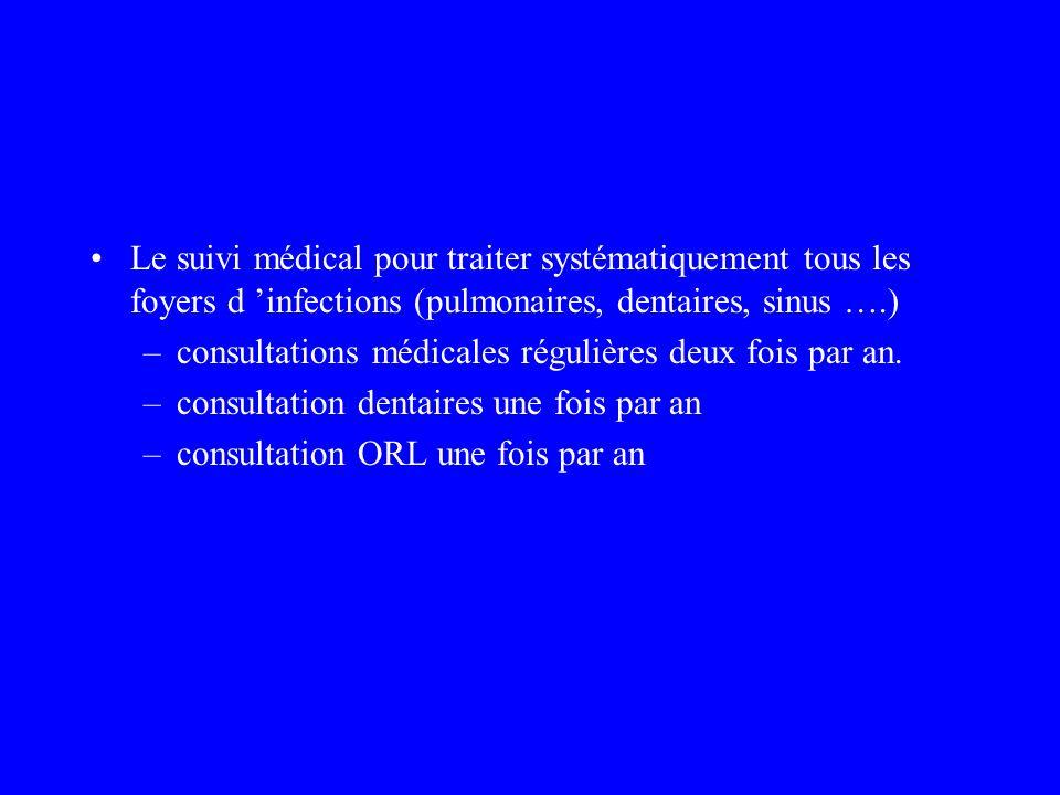 Le suivi médical pour traiter systématiquement tous les foyers d infections (pulmonaires, dentaires, sinus ….) –consultations médicales régulières deu