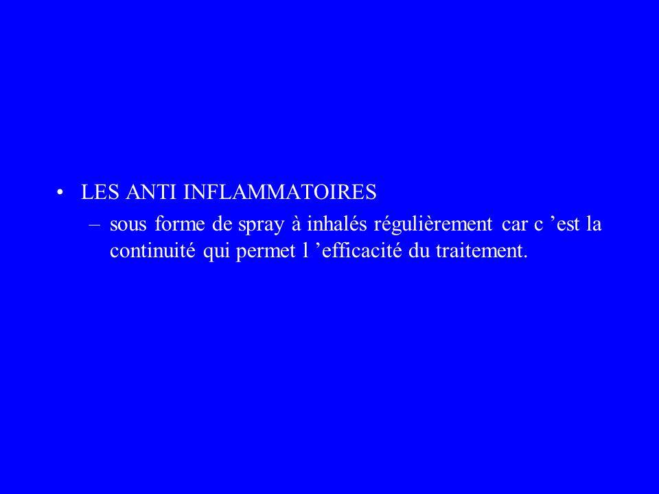 LES ANTI INFLAMMATOIRES –sous forme de spray à inhalés régulièrement car c est la continuité qui permet l efficacité du traitement.