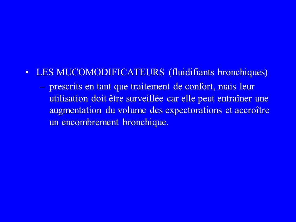 LES MUCOMODIFICATEURS (fluidifiants bronchiques) –prescrits en tant que traitement de confort, mais leur utilisation doit être surveillée car elle peu