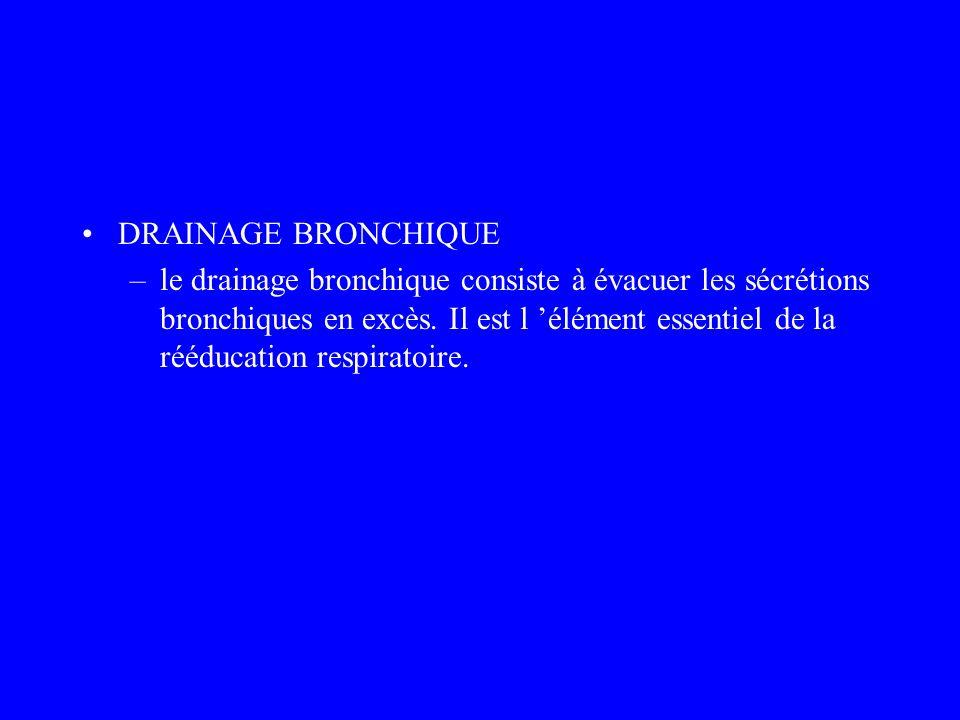 DRAINAGE BRONCHIQUE –le drainage bronchique consiste à évacuer les sécrétions bronchiques en excès. Il est l élément essentiel de la rééducation respi