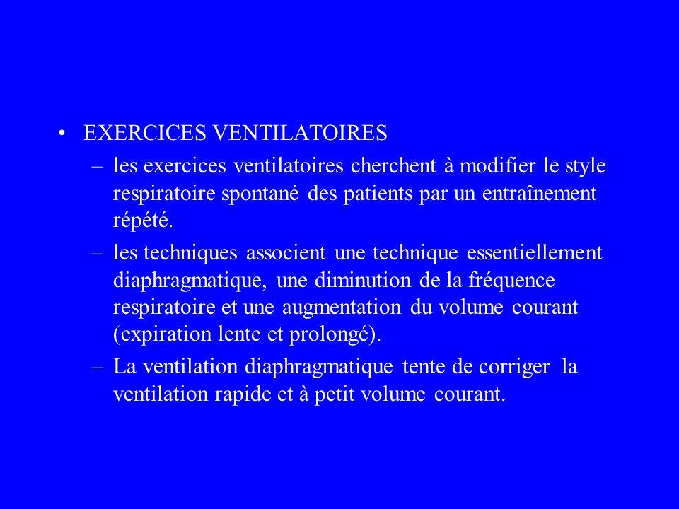 EXERCICES VENTILATOIRES –les exercices ventilatoires cherchent à modifier le style respiratoire spontané des patients par un entraînement répété. –les