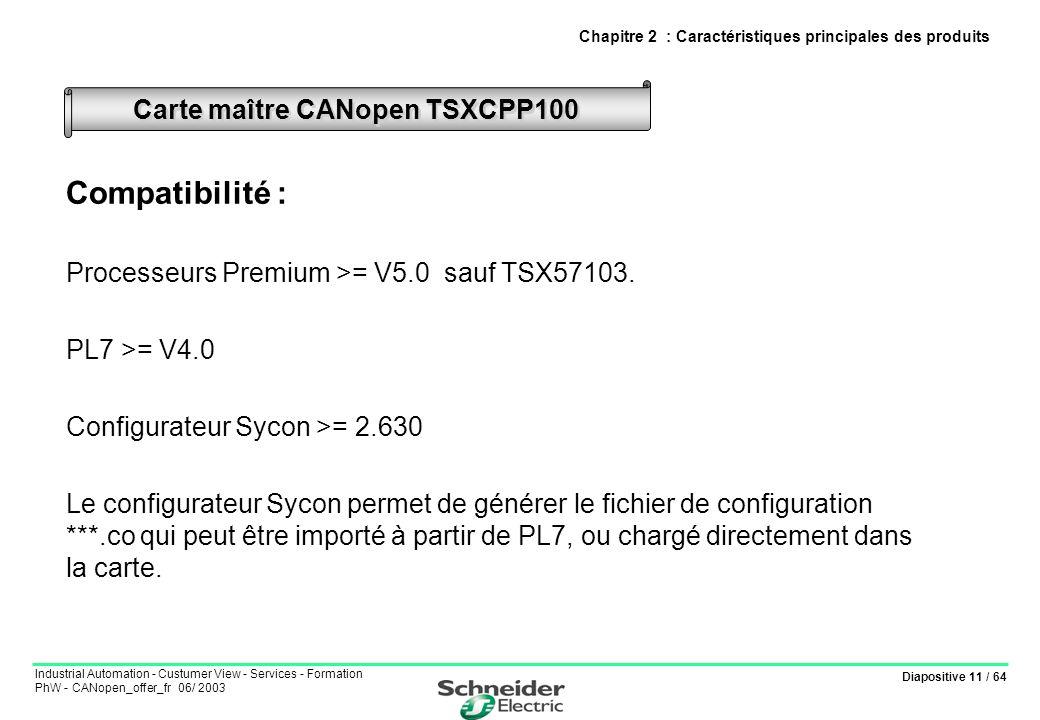 Diapositive 11 / 64 Industrial Automation - Custumer View - Services - Formation PhW - CANopen_offer_fr 06/ 2003 Compatibilité : Processeurs Premium >