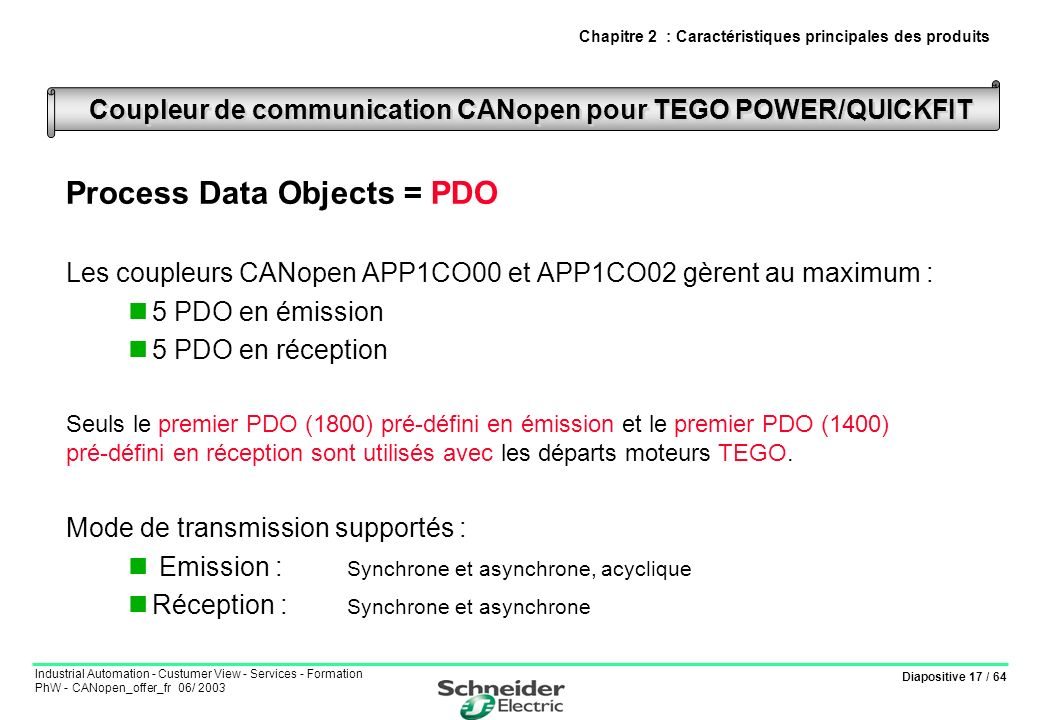 Diapositive 17 / 64 Industrial Automation - Custumer View - Services - Formation PhW - CANopen_offer_fr 06/ 2003 Process Data Objects = PDO Les couple