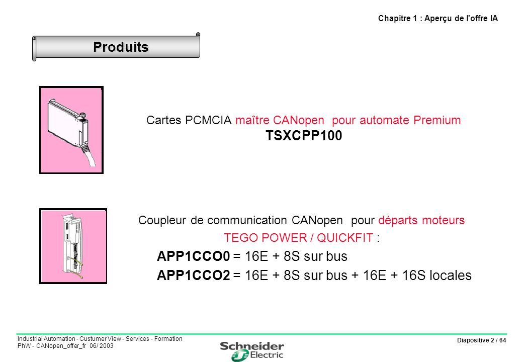 Diapositive 2 / 64 Industrial Automation - Custumer View - Services - Formation PhW - CANopen_offer_fr 06/ 2003 Cartes PCMCIA maître CANopen pour auto
