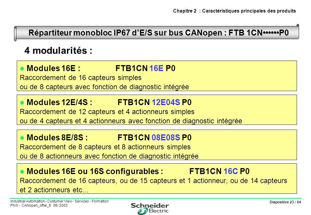 Diapositive 23 / 64 Industrial Automation - Custumer View - Services - Formation PhW - CANopen_offer_fr 06/ 2003 Répartiteur monobloc IP67 dE/S sur bu