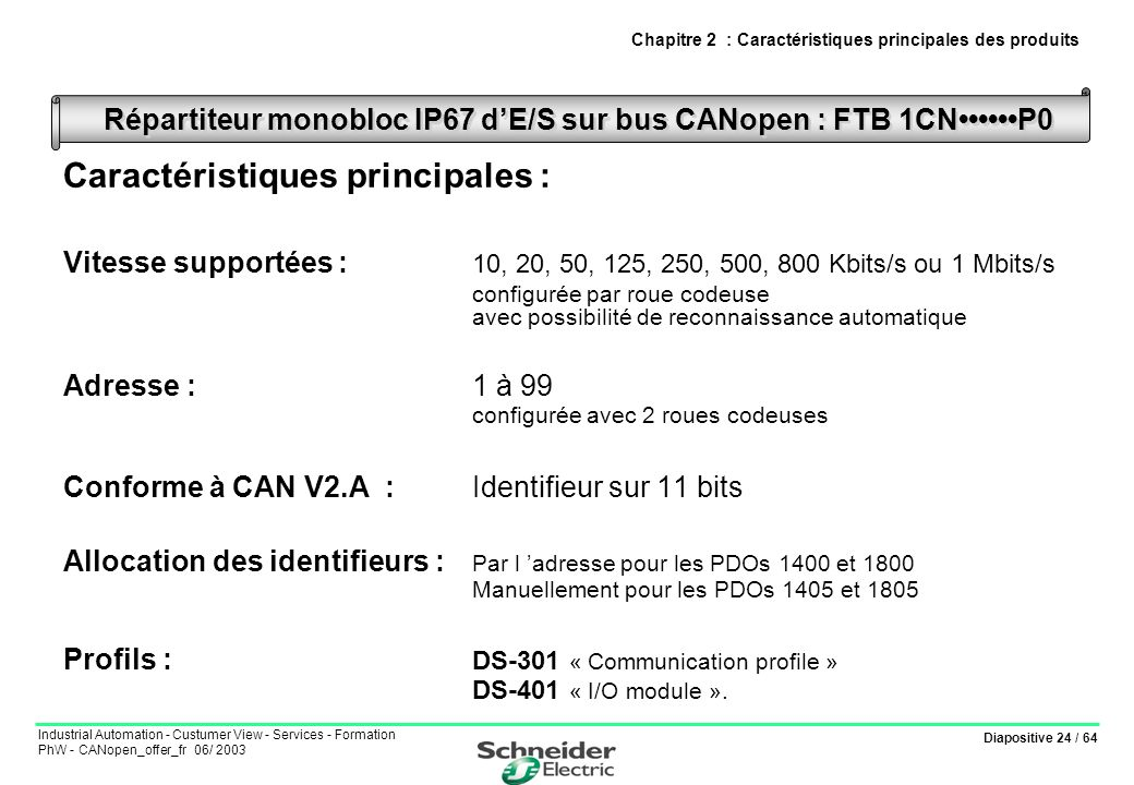 Diapositive 24 / 64 Industrial Automation - Custumer View - Services - Formation PhW - CANopen_offer_fr 06/ 2003 Caractéristiques principales : Vitess