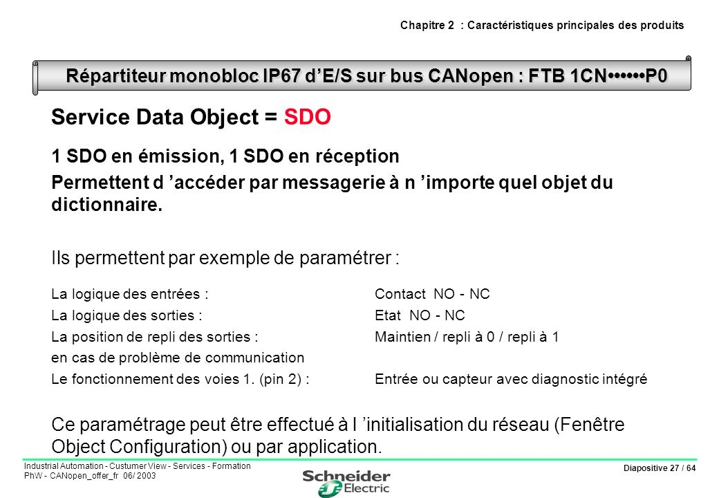 Diapositive 27 / 64 Industrial Automation - Custumer View - Services - Formation PhW - CANopen_offer_fr 06/ 2003 Service Data Object = SDO 1 SDO en ém