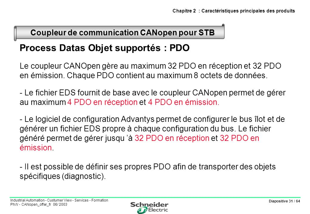 Diapositive 31 / 64 Industrial Automation - Custumer View - Services - Formation PhW - CANopen_offer_fr 06/ 2003 Process Datas Objet supportés : PDO L