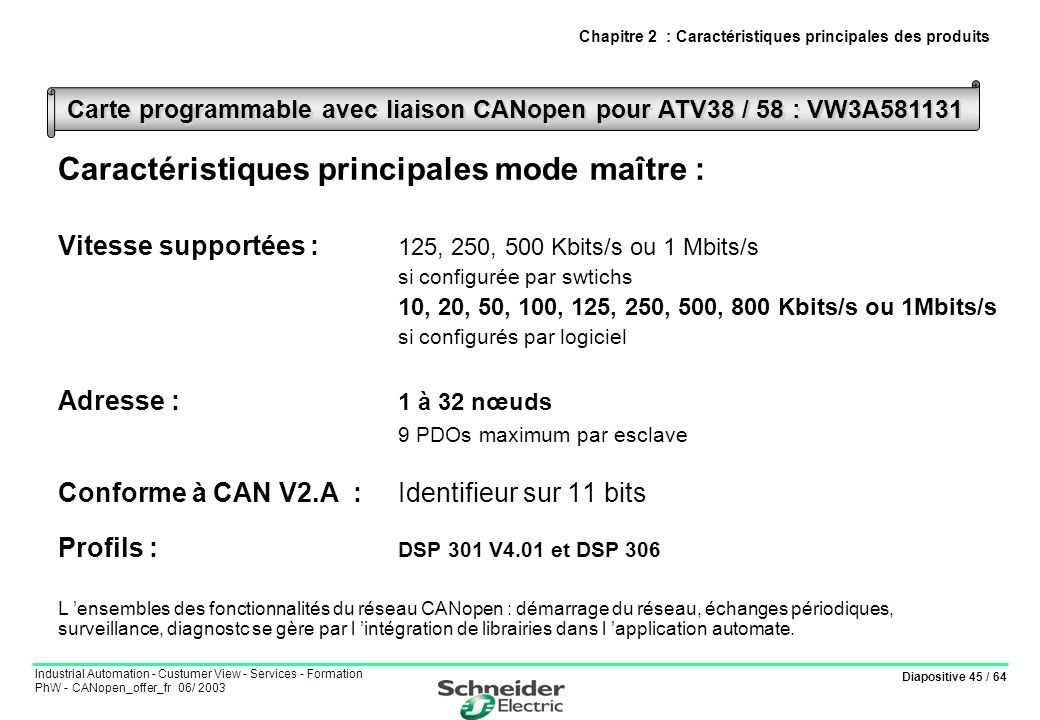 Diapositive 45 / 64 Industrial Automation - Custumer View - Services - Formation PhW - CANopen_offer_fr 06/ 2003 Chapitre 2 : Caractéristiques princip