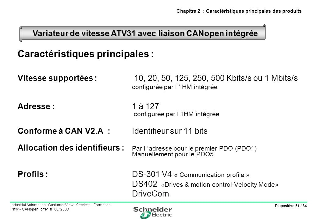 Diapositive 51 / 64 Industrial Automation - Custumer View - Services - Formation PhW - CANopen_offer_fr 06/ 2003 Chapitre 2 : Caractéristiques princip