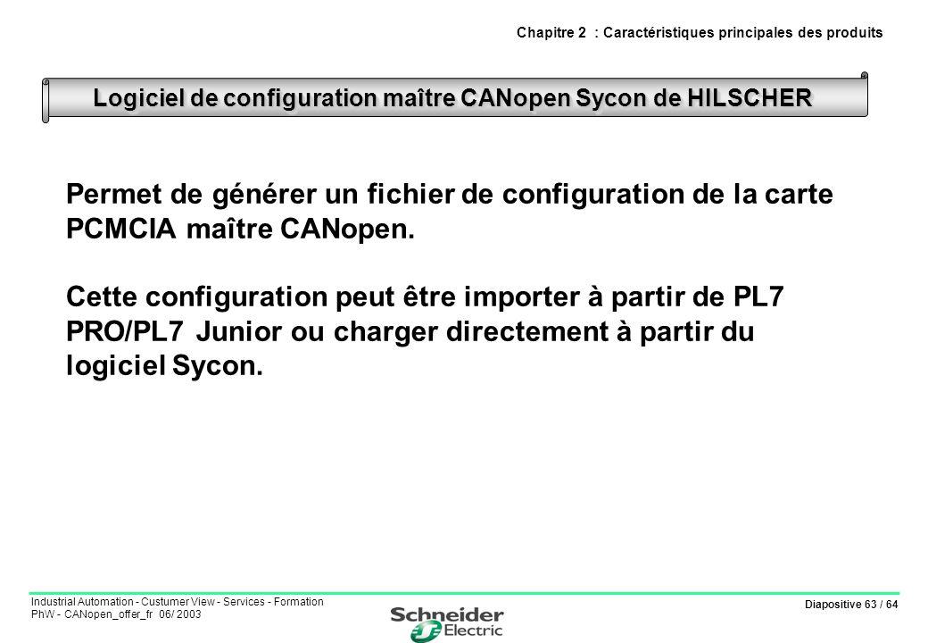 Diapositive 63 / 64 Industrial Automation - Custumer View - Services - Formation PhW - CANopen_offer_fr 06/ 2003 Permet de générer un fichier de confi
