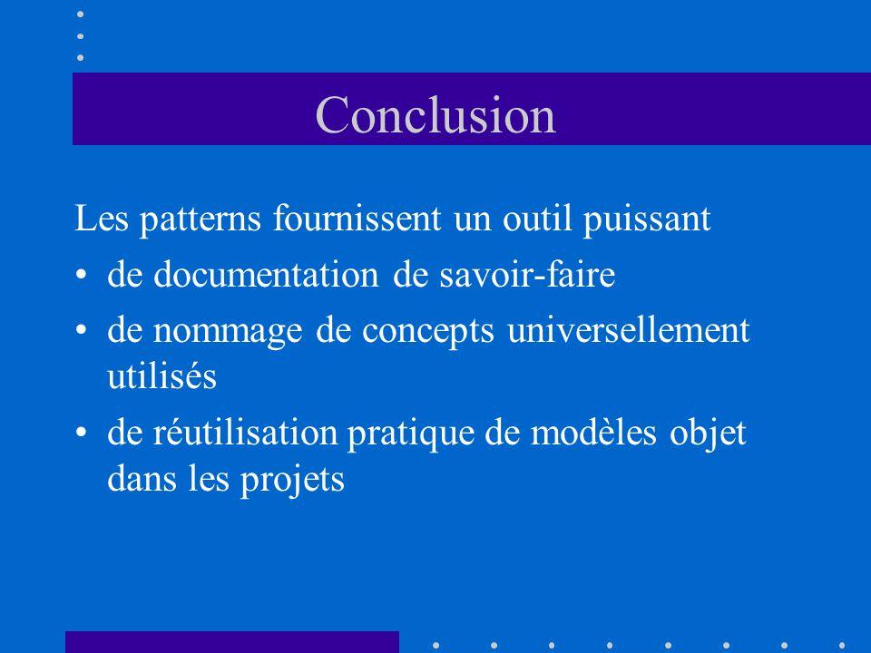 Conclusion Les patterns fournissent un outil puissant de documentation de savoir-faire de nommage de concepts universellement utilisés de réutilisatio