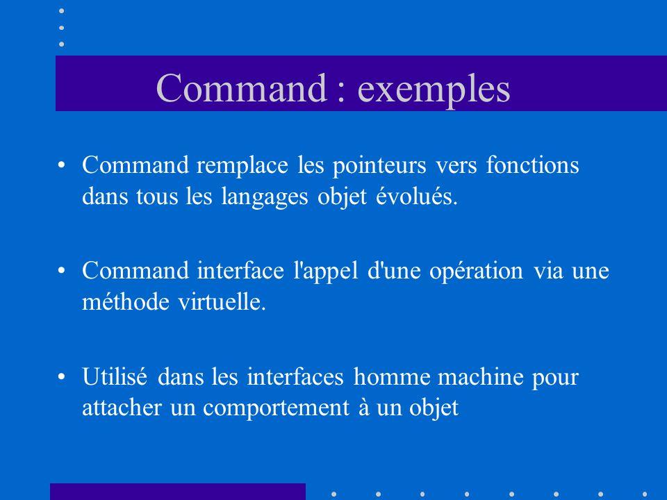 Command : exemples Command remplace les pointeurs vers fonctions dans tous les langages objet évolués. Command interface l'appel d'une opération via u
