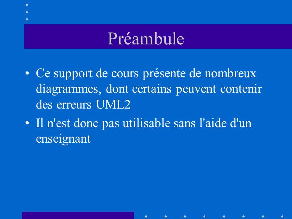 Préambule Ce support de cours présente de nombreux diagrammes, dont certains peuvent contenir des erreurs UML2 Il n'est donc pas utilisable sans l'aid