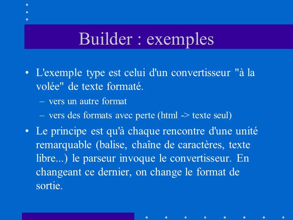 Builder : exemples L'exemple type est celui d'un convertisseur